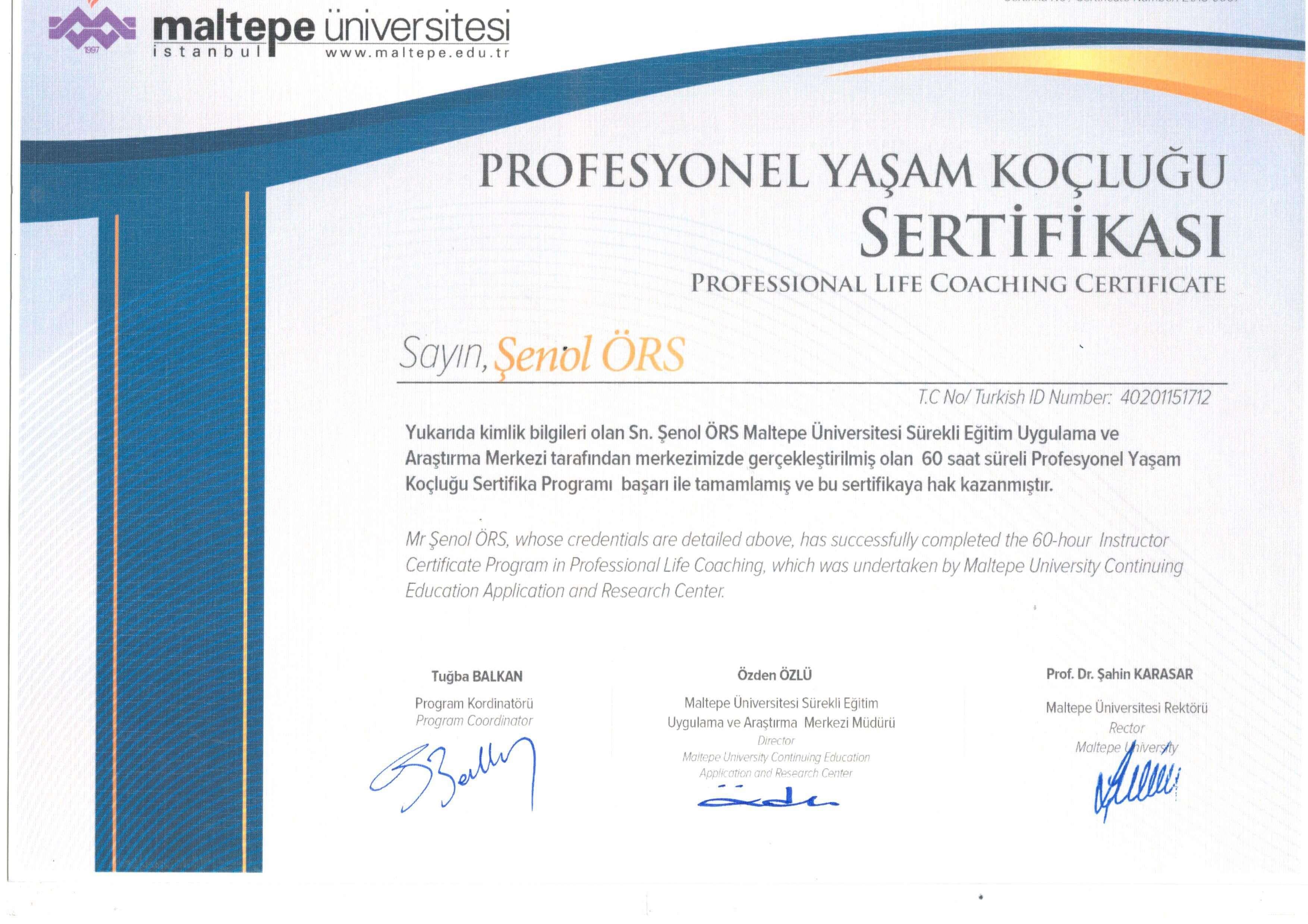 profesyonel yaşam koçluğu sertifikası
